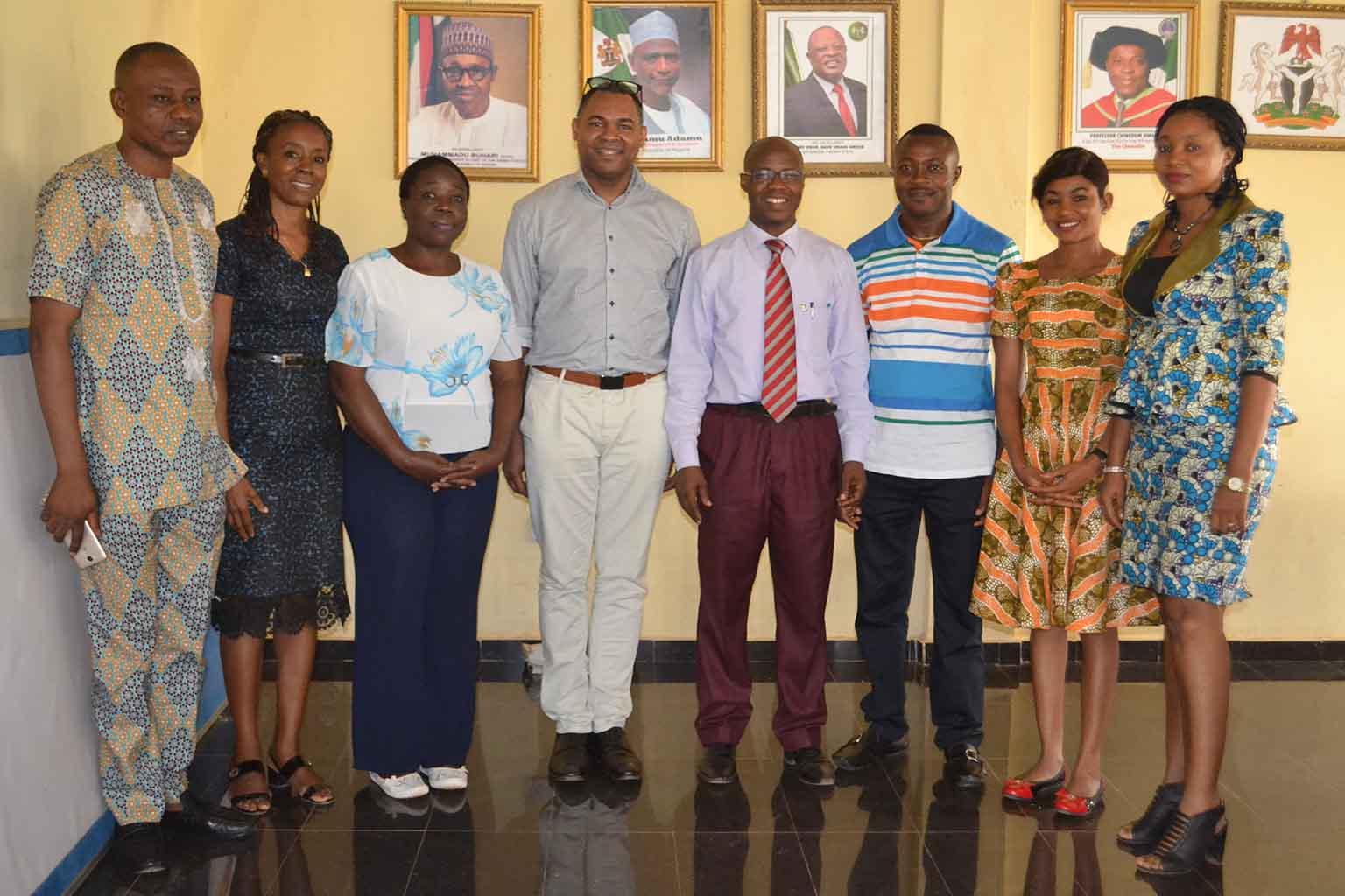 Group picture : Left to Right: Mr Iyke Ubochi (University PRO), Ms Chiaka Nnodi, Prof G.M.T Emezue, Prof Brando Okolo, Prof Jonny Ogunji, Mr