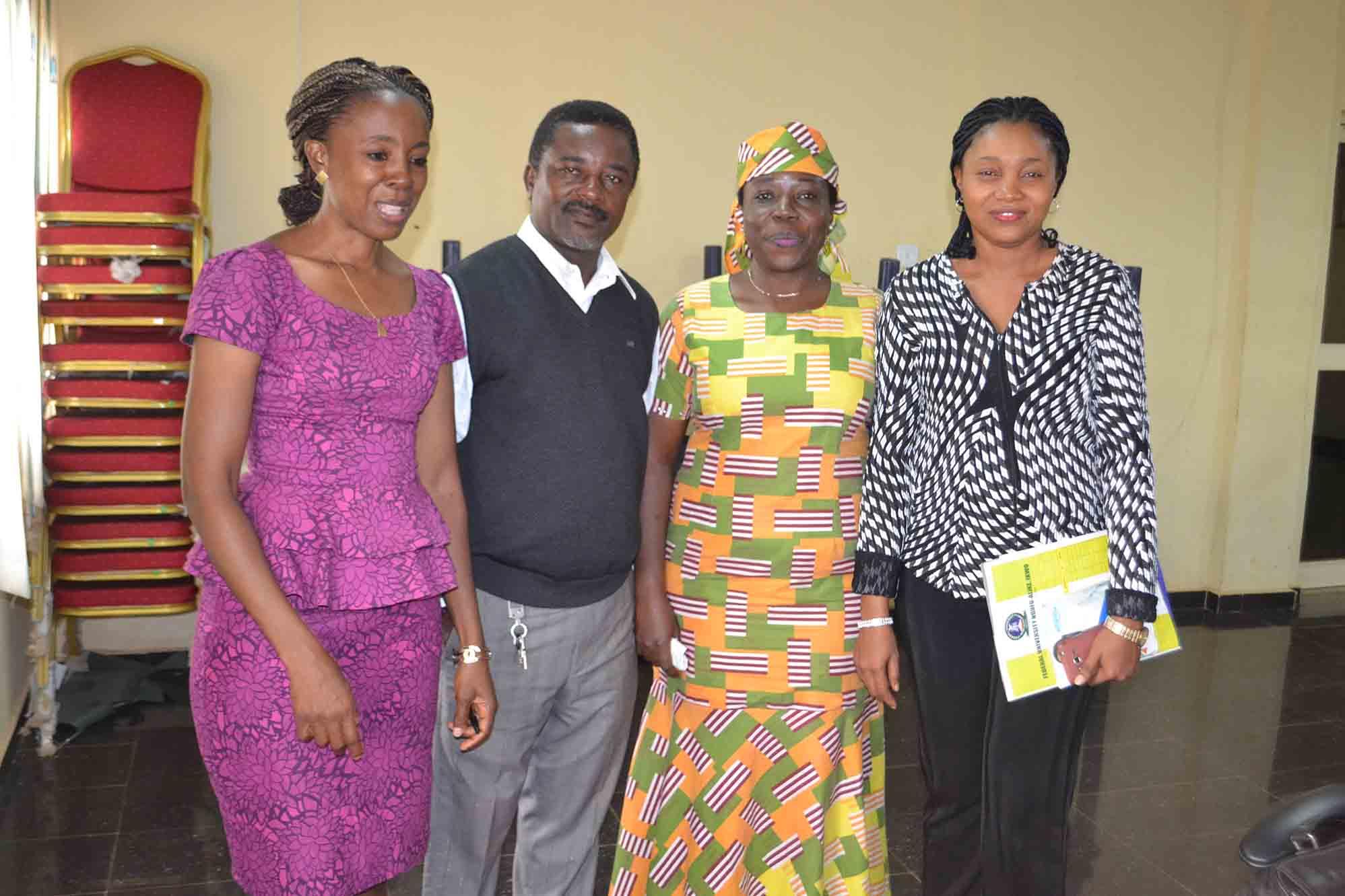 Group photograph with members of the University team. Left to right: Ms Chiaka Nnodi, Mr Sam Echem, Prof G.M.T Emezue, Barr Ogochukwu