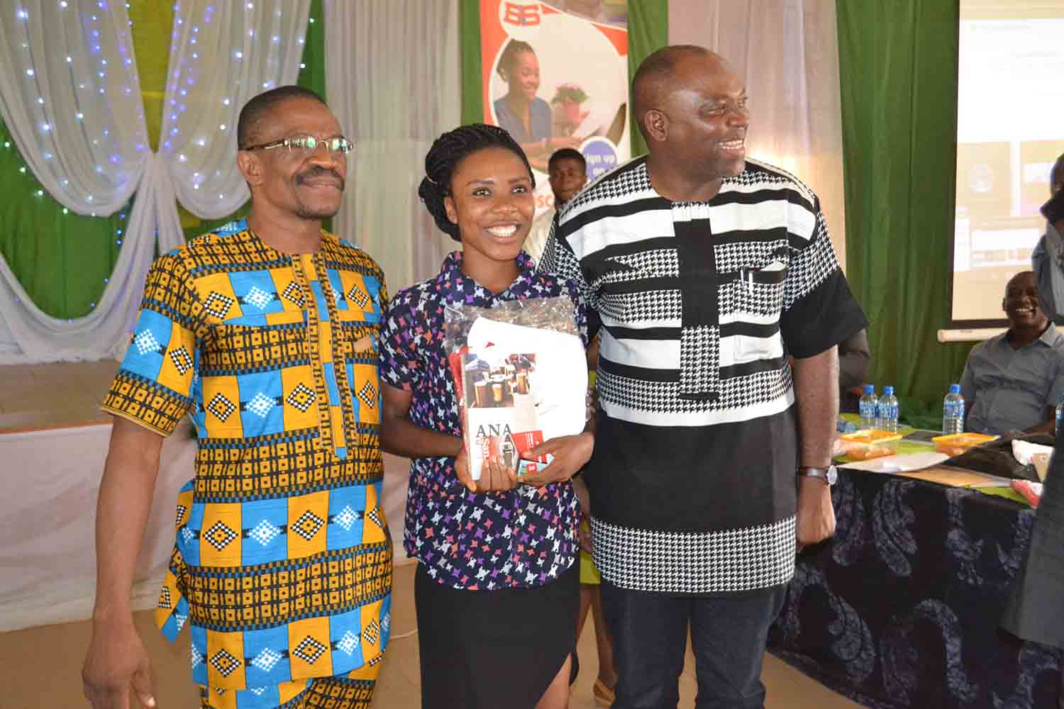 Left to Right- ANA Vice President, Mr Camillus Ukah, First Prize winner in the Drama workshop, Ms Deborah, and the Vice Chancellor