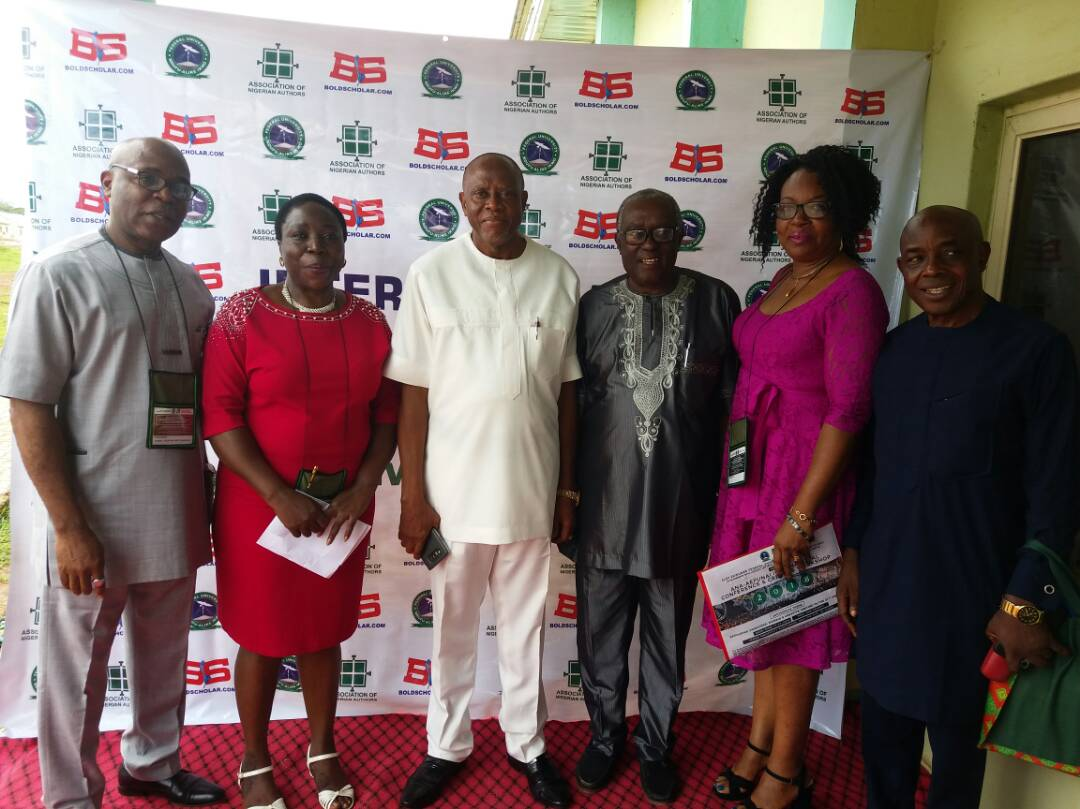Conferees at ANA/FUNAI conference. Left to Right: Dr ABC Duruaku, Prof G.M.T Emezue, DVC Academic Prof Sunday Elom, Prof JOJ Nwachukwu Agbada, Dr Mrs Duruaku, Prof Joe Ushie