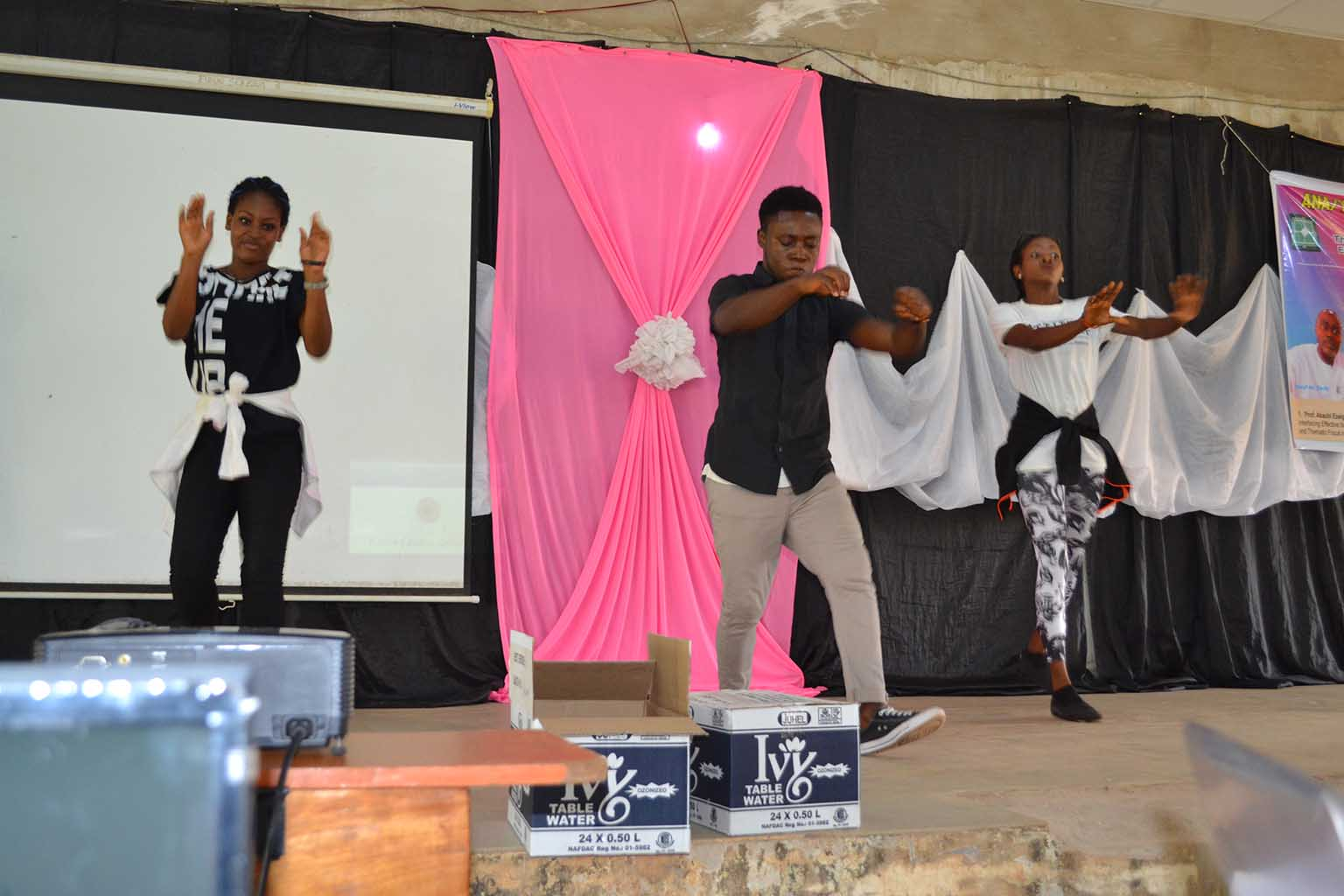 Student-dancers, entertaining people at the event