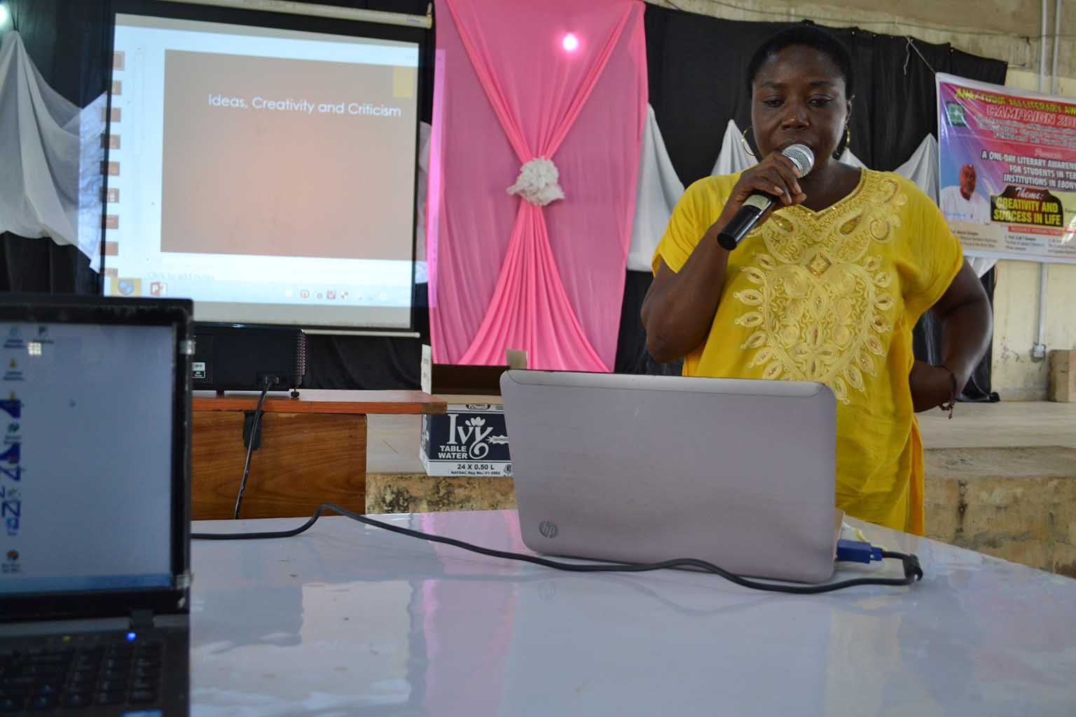 Prof G.M.T Emezue, making her presentation during the event