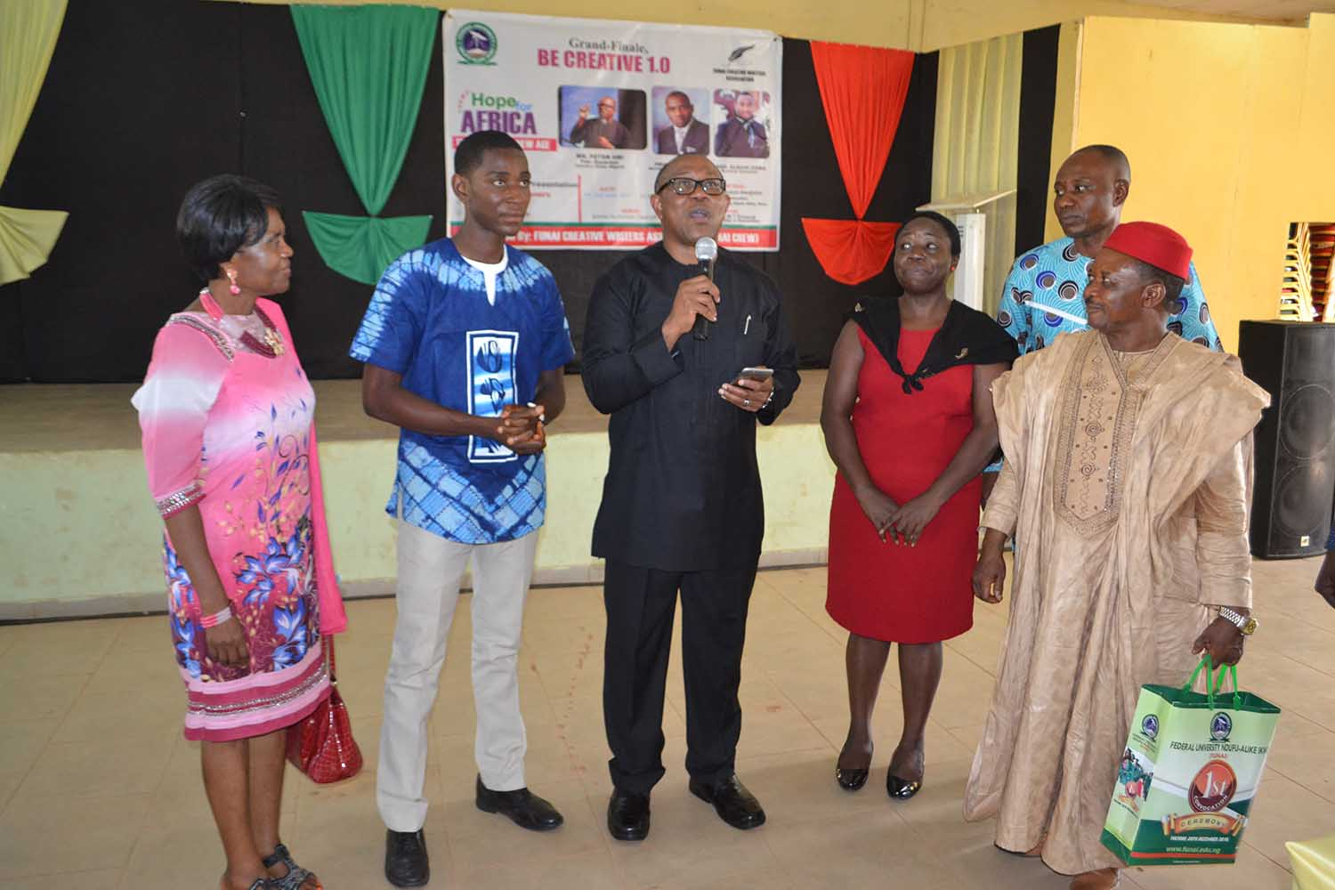 Left to right: Prof Akachi Ezeigbo (Donor of Prize for prose fiction), Uche Agbo (President AE-FUNAI CREW), Mr Peter Obi (Special Guest of honour), Prof G.M.T Emezue (Matron of AE-FNAI CREW), Prof M. Edoga (Vice-Chancellor's Representative