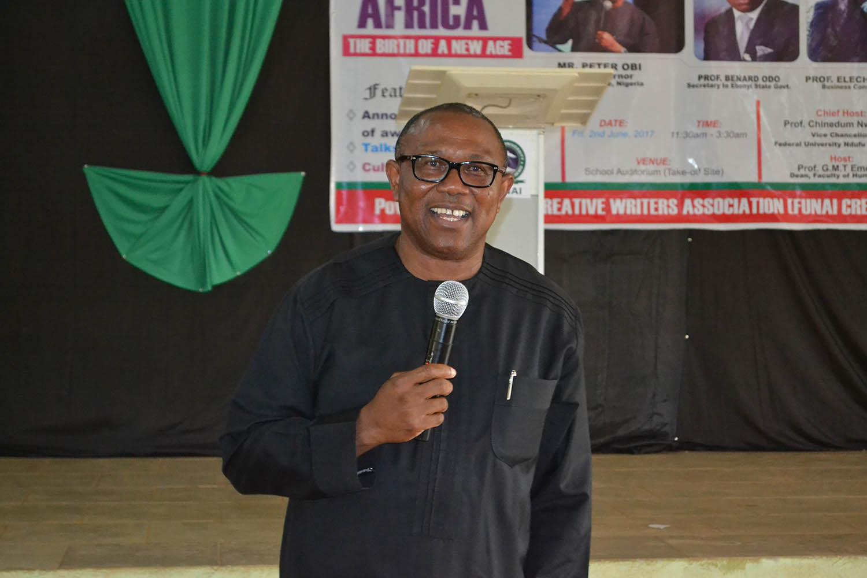 Mr Peter Obi, delivering his speech