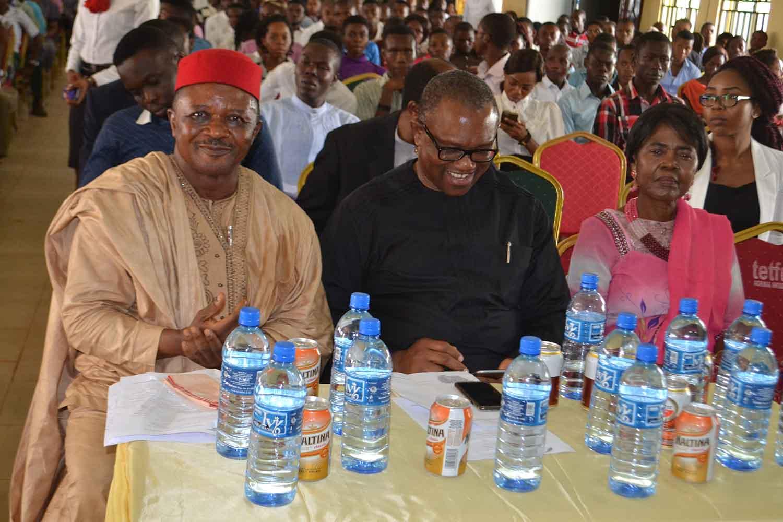Left to Right: Prof M. Edoga, Mr Peter Obi, Prof Akachi Ezeigbo