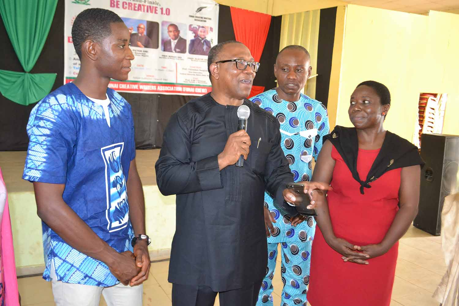Left to Right: Mr Uche Agbo (President of AE-FUNAI CREW), Mr Peter Obi (Special Guest of Honour), Mr Iyke Ubochi (University PRO), Prof G.M.T Emezue (Matron of the Association)
