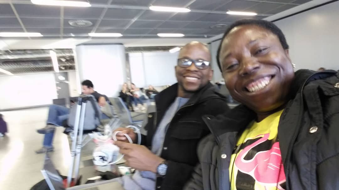 On the way back to Nigeria, Prof G.M.T Emezue in a pose with Dr Samaila Suleiman of Bayero University, Kano, at the Atlanta Airport, Atlanta, Georgia.