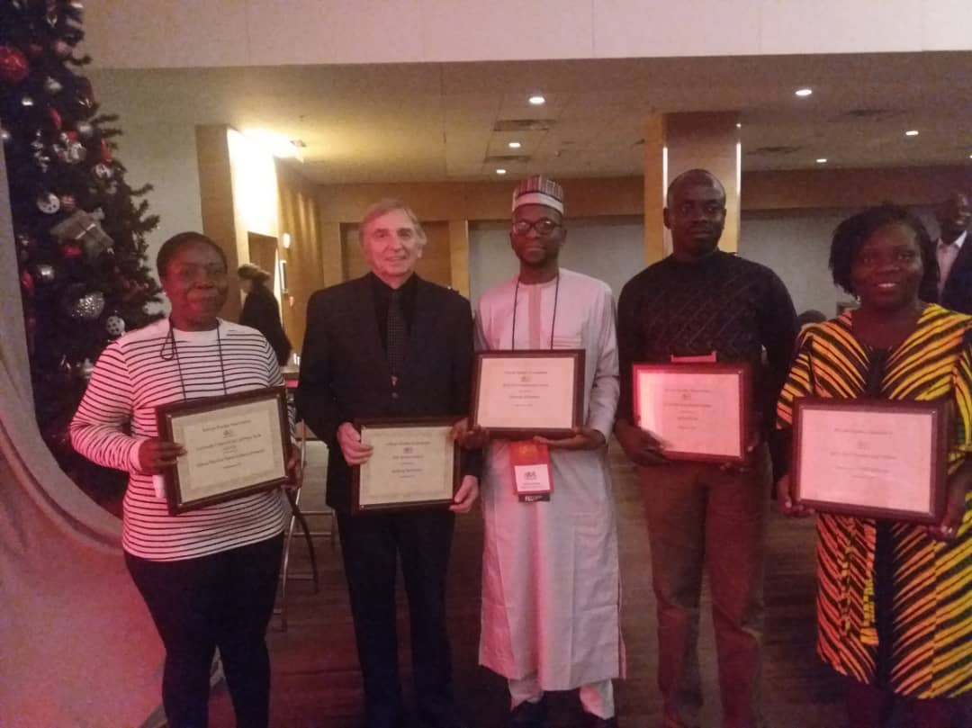 Cross-section of different awardees at the 2018 ASA conference. Left to right – Prof G.M.T Emezue from the Alex Ekwume Federal University Ndufu-Alike, Nigeria received the Carnegie Corporations of New York Scholar Award, Mr Andrzej Tymowski from the American Council of Learned Societies received the African Studies Association's Service Award, Dr Samaila Suleiman from the Bayero University, Kano, Nigeria, received the African Studies Association's Presidential Award, Dr James Ocita from the Makerere University, Uganda,received the African Studies Association's Presidential Award and Dr Theresah Patrine Ennin from the University of Cape Coast, Ghana, received the African Studies Association's Presidential Award.
