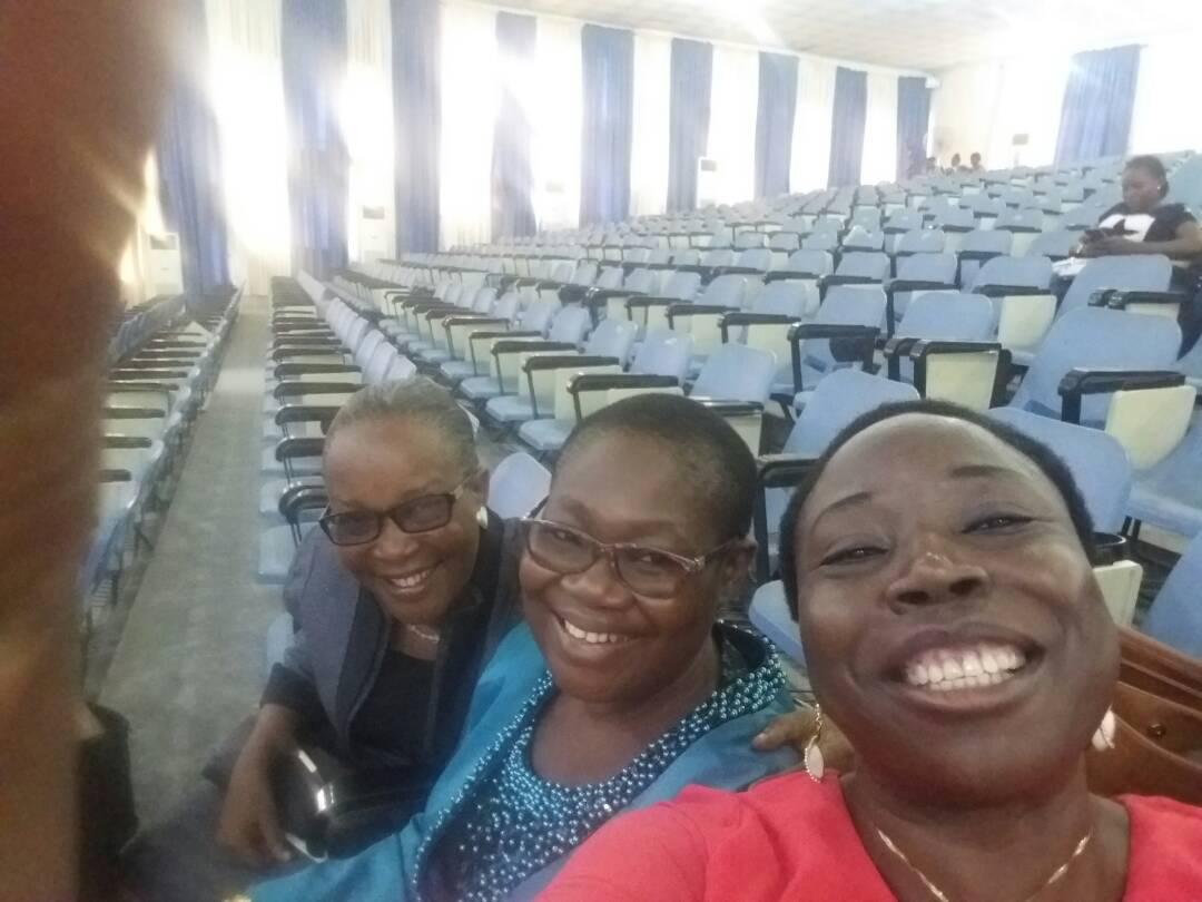 Right to Left: (Re-union of the three female professors of English at ICALEL. Prof G.M.T Emezue, Prof Imoh Imeyin and Prof Joy Etiowo