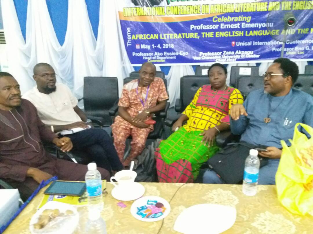 Faces of some writers and critics at ICALEL 2018. Right to Left: Mr Ikeogu Oke, Prof G.M.T Emezue, Prof Joe Ushie, Mr Paul, Mr Camillus Ukah