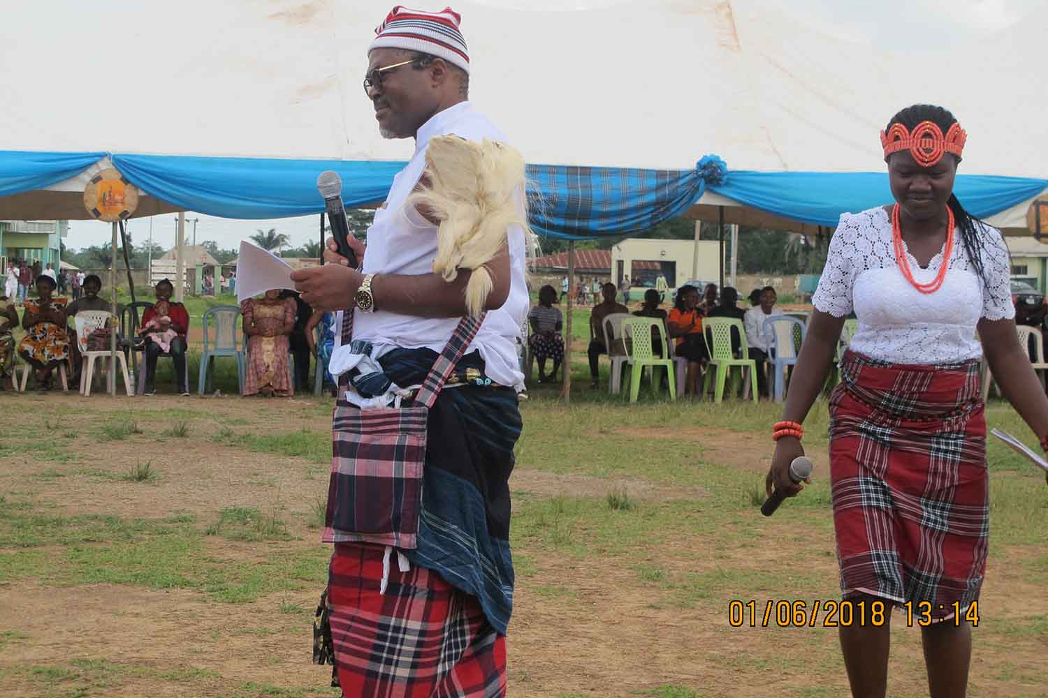 Mr Ikeogu Oke in his traditional attire during the 2018 Igbo Cultural day Festival