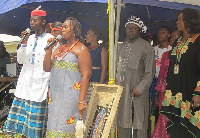 Ibeabuchi and Chidinma giving the National and FUNAI Anthems in Igbo