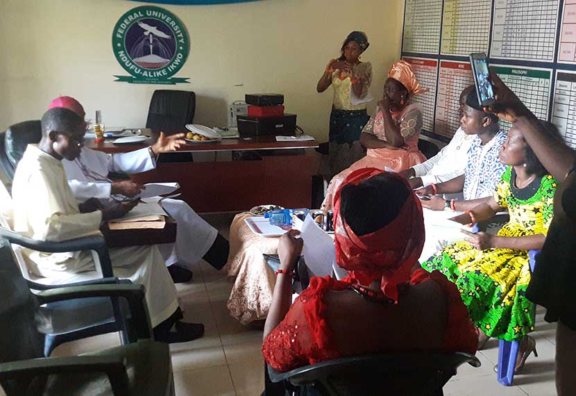 Discussion with the Archbishop A.J.V Obinna on 'Ndi Igbo' in the Dean's Office