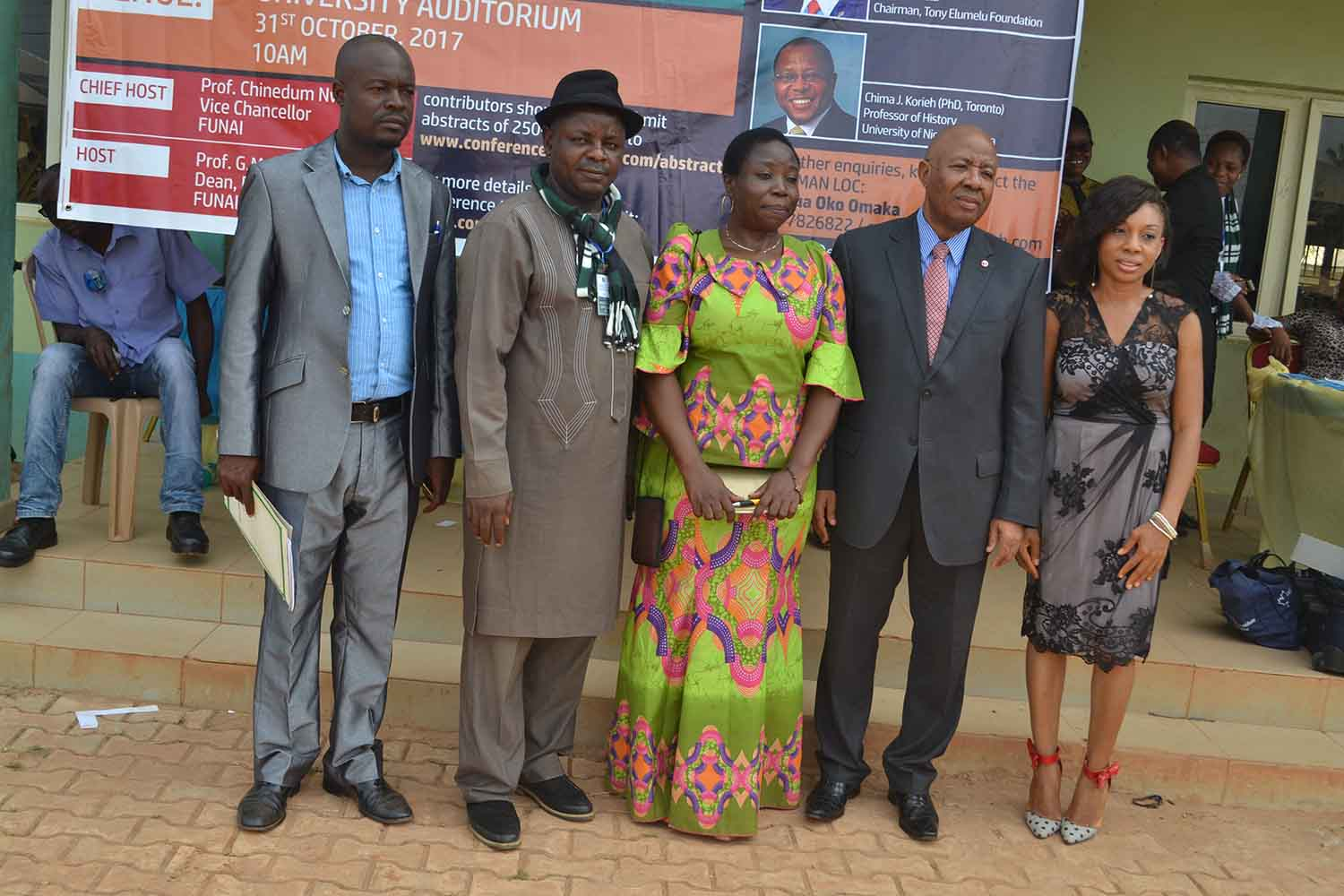 Some members of the organizing committee, the Dean and the CEO of Tony Elumelu Foundation, Chief Emmanuel Nnorom: Dr Arua O. Omaka, Mr Sylvanus Oko, Prof G.M.T Emezue, Chief Emmanuel Nnorom, Ms Ngozi Edeagu