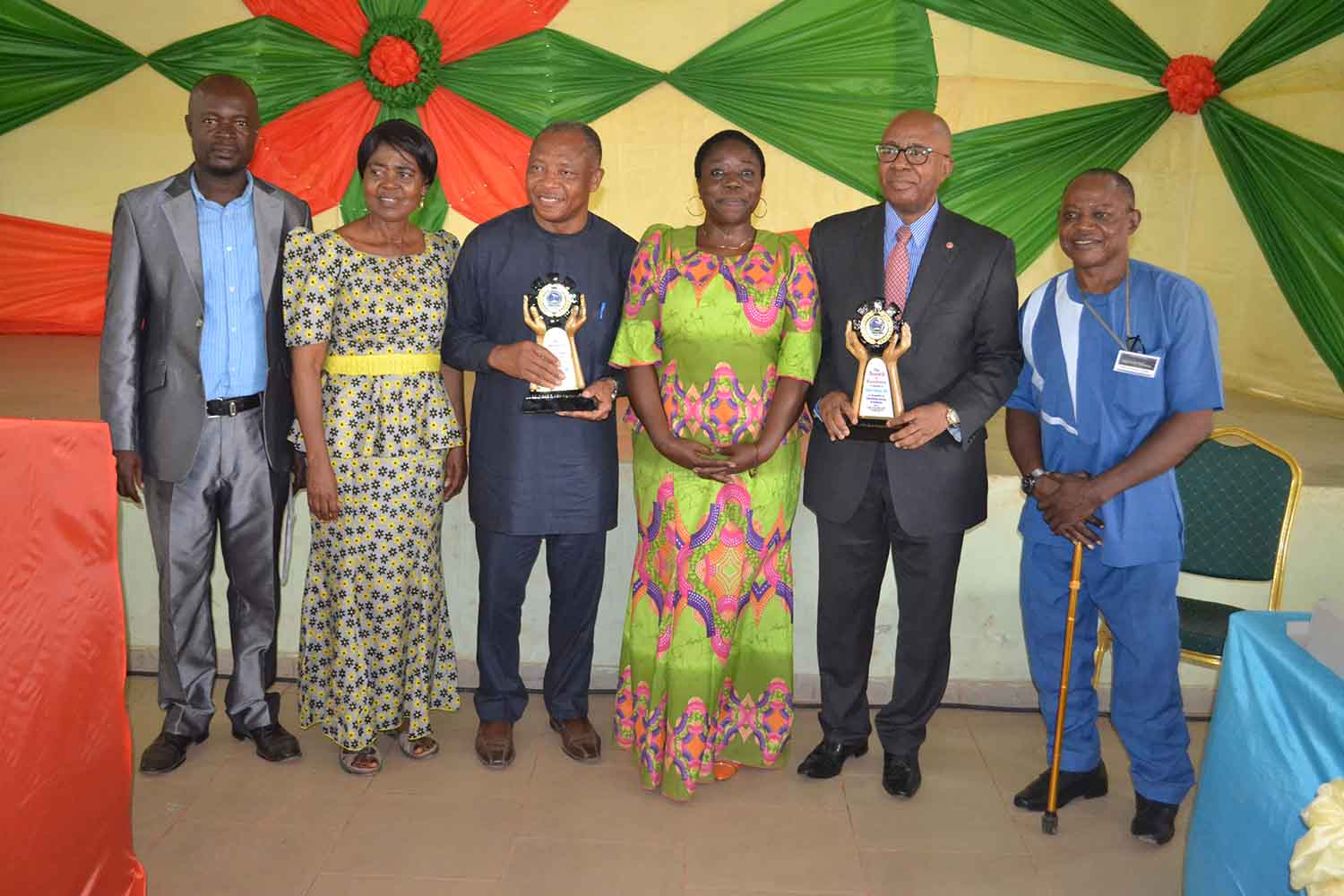 Awardees and some members of the Faculty. Left to right: Dr Arua O.Omaka (Chair of the Local Organizing Committee), Prof Akachi Ezeigbo, Prof Chima Korieh, Prof G.M.T Emezue, Chief Emmanuel Nnorom and Prof Micheal Onuu