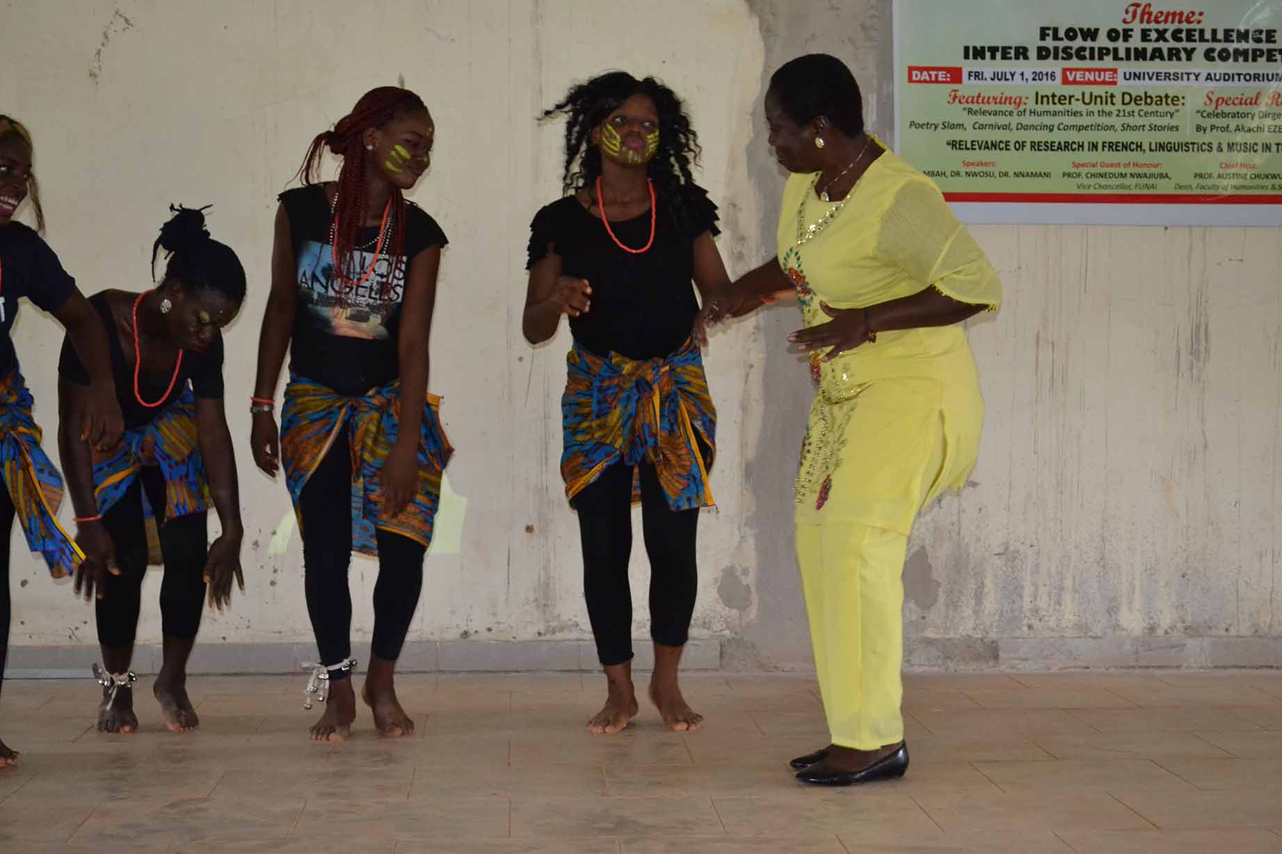 Prof G.M.T Emezue, dancing with the students doing traditional dances