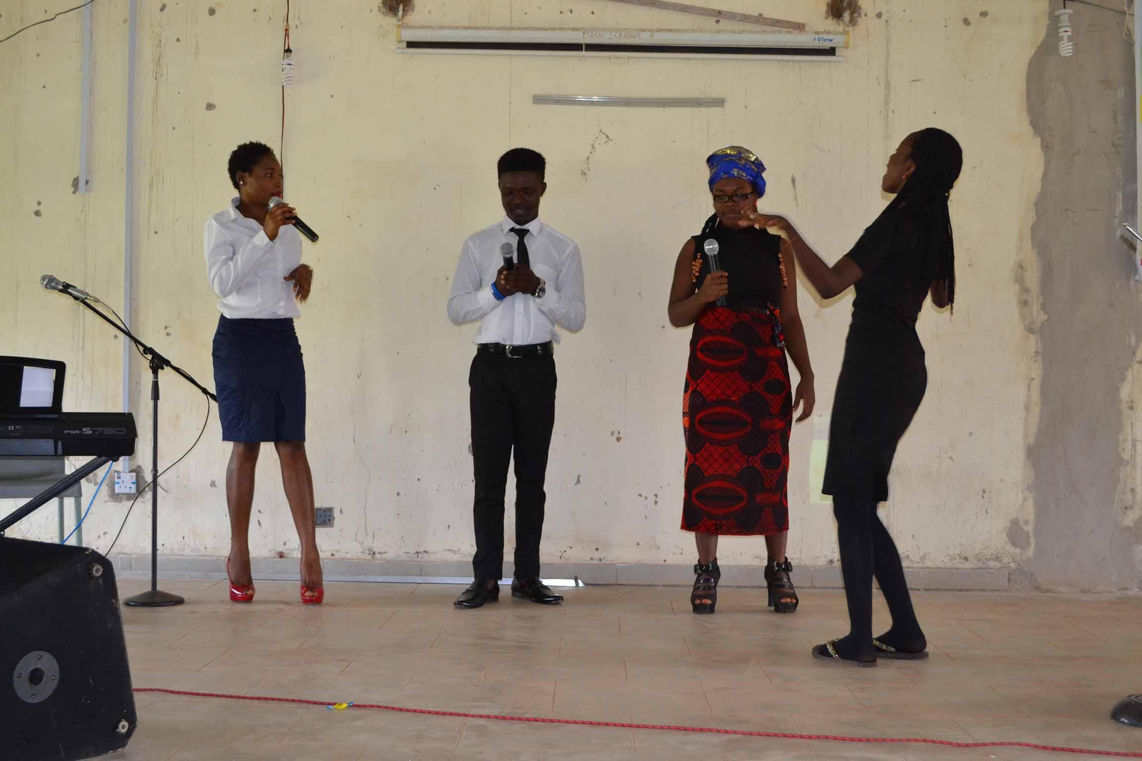 Students acting drama