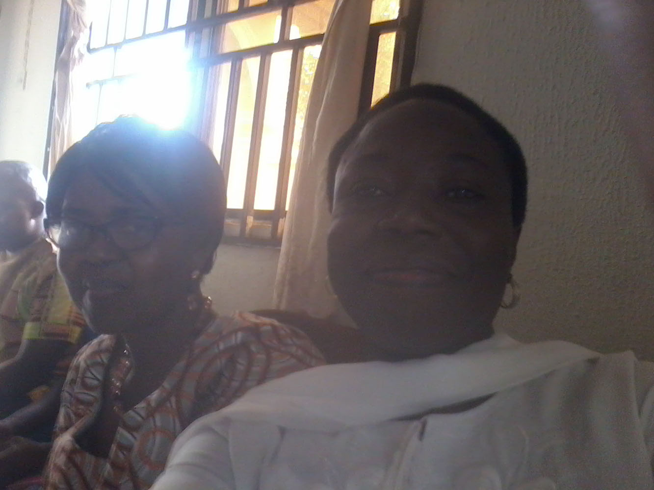 Prof G.M.T Emezue and Prof Akachi Ezeigbo in the house of Dr Evaristus Emeghara, during the burial of Dr Emeghara's mother on 21st of July, 2017.